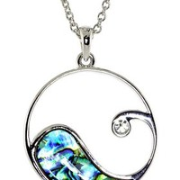Ocean Wave Pendent with Abalone Shell and Simulated Rhinestone Necklace
