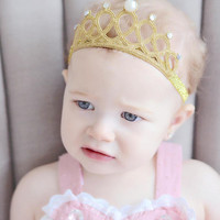 Baby Girls Gold Glitter Crown