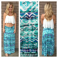 Mint & Royal Aztec Print Maxi Skirt