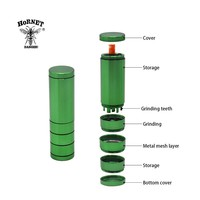 HORNET Multifunctional Aluminum Tobacco Herb Grinder + Storage Container + One Hitter Ceramic Dugout Pipe Smoking Accessories