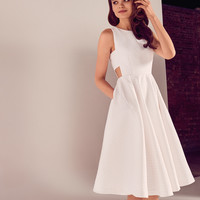 Daisy jacquard cut-out midi dress - White | Dresses | Ted Baker
