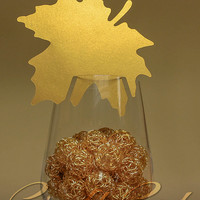 Gold maple leaf. Autumn place card. Fall wedding. (20+) Wine glass decoration.