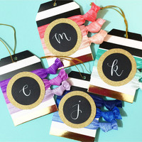 Personalized Glitter and Gold Foil Gift Tags in Modern Calligraphy Monogram in Four Ombre Colors - Coral, Mint, Blue and Purple