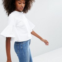 ASOS Denim Top with Flared Sleeve in White at asos.com