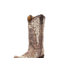 Youth Brown/ Bone Embroidery Boot - A2773
