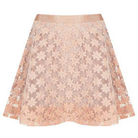 Embroidered Flower Skater Skirt - Skirts  - Clothing