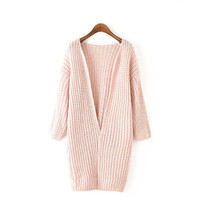 Pink Cable Knit Plain Cardigan