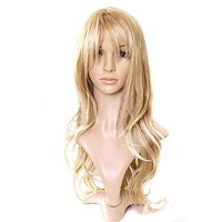 Charming Blonde Long Wavy Costume Hair Women's Fashion Wig long Curly Hair Wigs With Bangs
