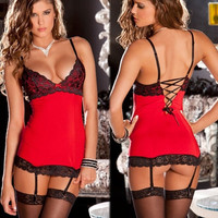 GSF Hot Sexy Lingerie Sex Sleepwear Adult Lingerie Deep V Women's Lace Sexy Underwear Black Badydoll Sleepwear GSF072 = 1933042564