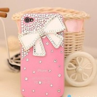 New Chic Girly Elegant Fashion Bing Rhinestones Big White Bow Pink Case Mobile Cell Phone Case Cover for iPhone 4s 5s 5c 6 Plus Samsung - Casemoda   Pinkoi