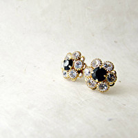 Gold Swarovski Post Earrings. Elegant Diamond + Black Crystal Rhinestone Earrings. Small Sparkly Gold Filigree Art Deco Earrings.