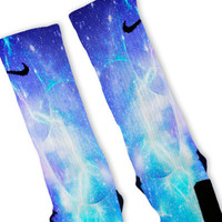 Blue Lightning Galaxy Custom Nike Elite Socks