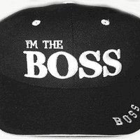 I'm the Boss BLACK Baseball Cap, Hat for a Manager, Leader, Supervisor, Foreman, Husband, Wife, Other Leadership and Those in Charge, Novelty Funny Humorous Cap with White Embroidered Raised Letters and Trim