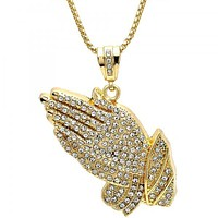 Gold Layered 04.242.0084.30 Pendant Necklace, Hand Design, with White Crystal, Polished Finish, Golden Tone