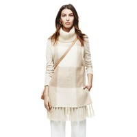 Adam Lippes for Target Cowl Neck Fringe Sweater - Oatmeal Plaid