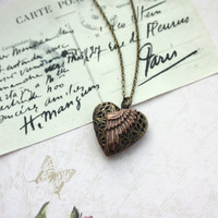 A Copper Flying Wing Filigree Heart Locket, Small Rose Flower Necklace. Steampunk, Whimsical, Romantic, Valentine Gift. For wife. Angel.