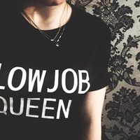 blowjob queen letters Print Women T shirt Casual Cotton Harajuku Hipster tshirts For Lady Alien Vintage Funny Femme Top Tee