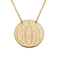 Swarovski Monogram Disc Necklace -  18K Gold Dipped .925 Sterling Silver