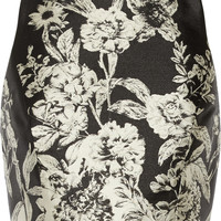Alice + Olivia - Joelle cropped leather-trimmed jacquard top