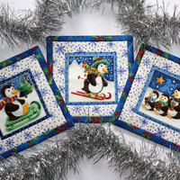 Quilted Fabric Coasters PENGUIN coasters Winter Holidays coasters Set of 6