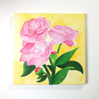 Peonies, 12x12 Acrylic Canvas Painting, Square Wall Art, Pink and Yellow Flower Painting