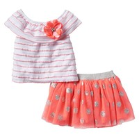 Little Lass Striped Eyelash Top & Polka-Dot Skort Set - Baby Girl, Size: