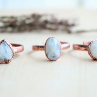 Moonstone ring. Electroformed rainbow moon stone. Electroformed ring. Copper ring. Ring with natural stone. Gift for girl. Gift for her