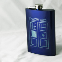 Tardis Flask inspired by Doctor Who 8 oz. Blue Stainless Steel Laser Engraved Flask