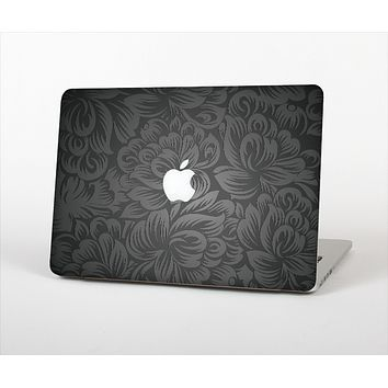 """The Black & Gray Dark Lace Floral Skin Set for the Apple MacBook Pro 15"""" with Retina Display"""