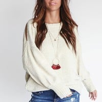 Holding You Dusty Snow Chenille Sweater