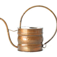 COPPER WATERING CAN, Curved Handle und Spout, Solid Copper, Made 1960s or 1970s, from Switzerland, Rustic Modern Decor, Cactus