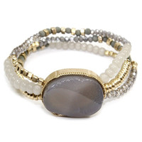 Natural Gray Stone + Crystal Bracelet