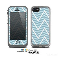 The Three-Lined Blue & White Chevron Pattern Skin for the Apple iPhone 5c LifeProof Case