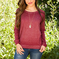 Emmie Long Sleeve Top - Burgundy