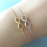 Simple, Cute, Infinity Necklace, Silver or Gold, Dainty Bracelet