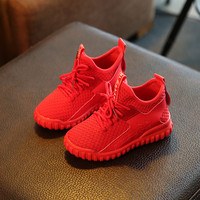 Children Boots Boys Sneakers New Autumn Breather Sport Solid Girls Shoes Kids Soft Knitting Fashion Boys Boots Size 26-30