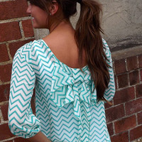 Chevron Bow Blouse in Teal | The Rage