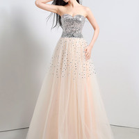 White Sweetheart Neckline with Silver Sequin and Rhinestone Bead Long Gown