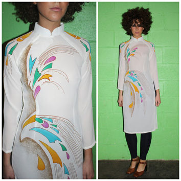 Vintage 60s TUNIC Dress, SHEER Psychedelic Festival High SLIT Mandarin Collar Top