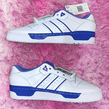 Vsgirlss ADIDAS RIVALRY Three Leaf Trending Flat Shoes Classic Sneakers White with blue stripe