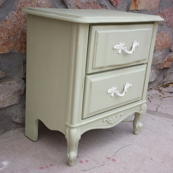 French Provincial Nightstand Refinished - Painted Furniture -Shabby Chic Furniture