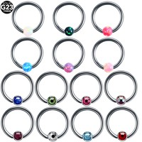 16G Titanium Opal Captive Bead Ring Horseshoe Circular Piercings Sexy BCR Lip Nose Ear Tragus Septum Rings Body Piercing Jewelry