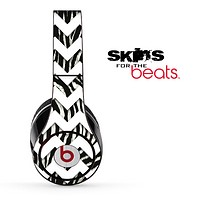 Zebra Real and White Chevron Pattern Skin for the Beats by Dre Solo, Studio, Wireless, Pro or Mixr