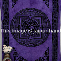 meditation Om Violet Purple Tapestry, hippie boho om celtic bed sheet, tie dye tapestries, indian tapestries, wall hanging, beach blanket