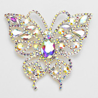 Crystal Accented Butterfly Brooch
