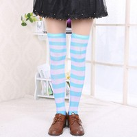 """New Hot Stripes Over the Knee Turquoise White Thigh High Stretchy Socks 60cm*23.6"""""""