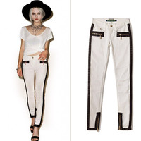 Fashion Casual Low Waist Stretch Stitching Pu Skin Decoration Zip Grid Embroidered Long Pants Jeans
