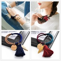 korean fashion tassel women girls elastic hair rubber bands ties headwear ring rope accessories for women scrunchie ornaments