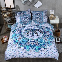 India 3D elephant comforter bedding sets printing Luxury Bohemian duvet cover set queen king Size bed sets  bed line 3/4 Pcs
