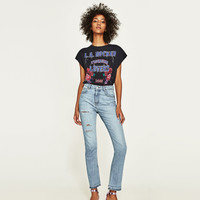 HIGH WAIST JEANS WITH SIDE SLITS DETAILS